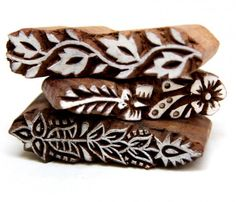 Set of Three Lady Finger Henna Mehindi Wood Block Stamps From India