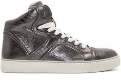 Lanvin Silver Lambskin Mid-Top Sneakers