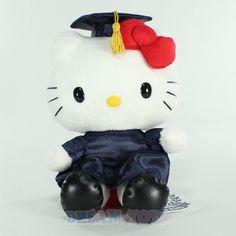 "Large Hello Kitty Doll   Graduation 2012 8"" Hello Kitty Navy Large Plush Doll Toy Grad Cap and ..."