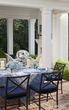 Southern Living...the blue hydrangea and patterned tablecloth really work well together and set the perfect blue theme.