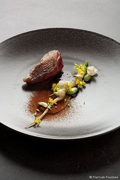 "Pigeon from ""Steenvoorde"", cooked in hay, vegetables ""Zwartemolen"", jus of hay/Kobe Desramaults by kobedesramaults, via Flickr"