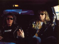 Dave Mustaine and David Ellefson in a limo