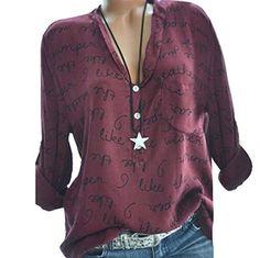 3b87ed0e1621 Clearance Sale!Long Sleeve Women Plus Size V-Neck Button Long Sleeve Letter  Blouse