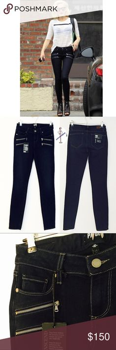 "🆕 PAIGE Edgemont Skinny Jeans PAIGE Edgemont Ultra Skinny Jeans (Dayton)  Channel some Stefani and add these super hot, moto-inspired jeans to your collection.  Svelte ultra skinny jeans No whiskers  Waist flat 13.75"" 31"" inseam 10"" leg opening 8"" front rise 12 1/2"" back rise Zip fly with button closure 5-pocket style Dark dye may transfer to lighter materials 54% rayon, 23% cotton, 22% polyester, 1% spandex Machine wash cold, line dry Made in the USA PAIGE Jeans Skinny"
