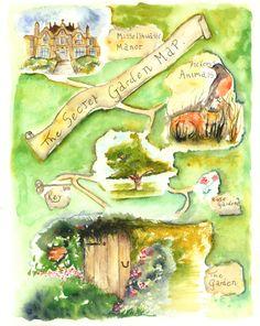 The Secret Garden Map 8.5 x 11 Archival Print by MilkandHoneybread, $20.00