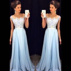 prom dress,prom dresses,long prom dress,sleeveless prom gowns,Light Sky Blue Appliques prom dress