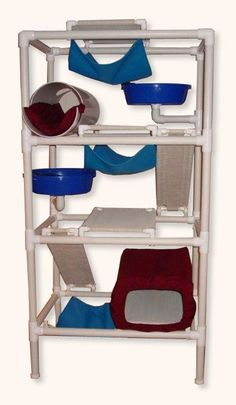 Feline Snoozers PVC Cat Tower- With a smaller diameter pipe this would be a great rat playground Large Cat Tree, Diy Cat Tree, Cat Towers, Cat Enclosure, Reptile Enclosure, Cat Playground, Cat Room, Ideias Diy, Cat Condo