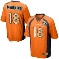28b9ce558 Nike Broncos  18 Peyton Manning Orange Team Color Men s Stitched NFL Game  Super Bowl 50