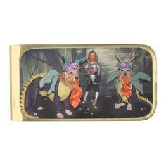 Golden Retriever Dragons Fighting a Knight Gold Finish Money Clip