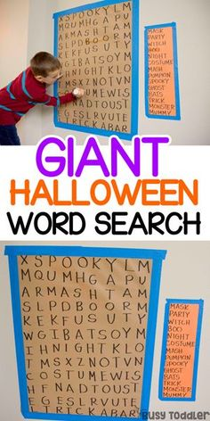 """Giant Halloween Word Search - A Literacy Activity from Busy Toddler - - Looking for an easy Halloween activity? Try this Giant Halloween Word Search - a perfect hands-on activity for """"busy big kids"""" from Busy Toddler. Halloween Word Search, Halloween Words, Halloween Activities For Kids, Halloween Party Games, Holidays Halloween, Halloween Themes For Work, Kids Halloween Crafts, Big Kids, Halloween"""