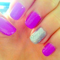 Purple + sparkle nails
