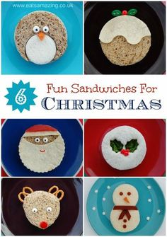 Eats Amazing UK - 6 fun and easy Christmas themed sandwiches for party food, healthy kids snacks and fun packed lunches! - with full instructions :-)