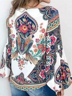 UK Women Boho Floral V-Neck Long Lantern Sleeve Oversize Blouse T Shirt Tops