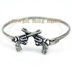 Cowgirl Bling Ranch, LLC - Western Double Pistol Bangle Bracelet, $9.99 FREE SHIPPING (http://www.cowgirlblingranch.com/western-double-pistol-bangle-bracelet/)