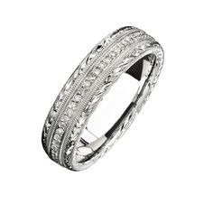 Natalie K - 14k White Gold Hand Engraved Pave Diamond Men's Band - NK15387-W