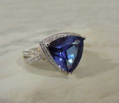 18K White Gold, 4.82 Carat Trillion Cut Tanzanite & Diamond Ring #Stunning #Bling #Jewelry #Bridal #Wedding #Engagment #Gemstones