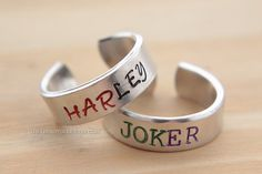 Harley Quinn and Joker Inspired Hand Stamped by TheTrendyGeek