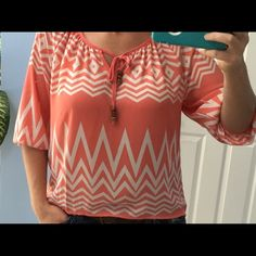 Jolt peach and cream chevon shirt NWT. 3/4 sleeves. Longer in the back beads on the ties in the front. Knitting on the back Jolt Tops Blouses