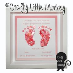 A unique framed button picture which can be tailored to your requirements. This is the perfect gift for a new born baby or christening gift. on Etsy, £22.00