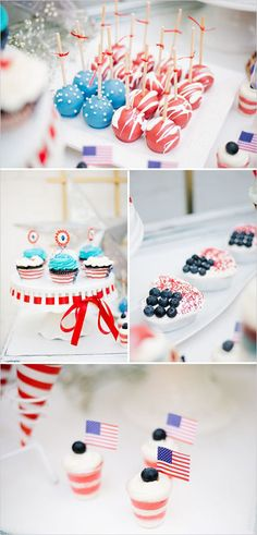 Red white and blue desserts for 4th of July!