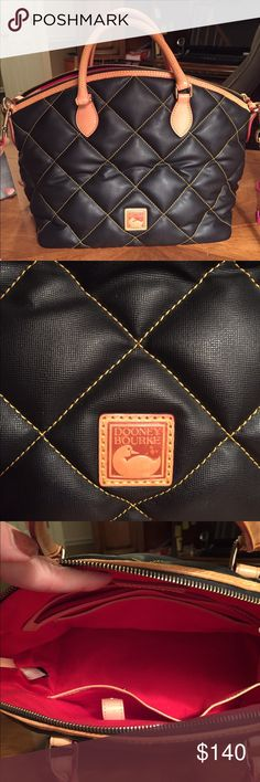 Dooney Bourke Quilted Nylon. Leather Strap/Handles Authentic. Excellent condition. 16 wide (widest part) by 10 high. Also has a coordinating wallet if interested in a bundle price. Includes leather strap. Dooney & Bourke Bags Satchels