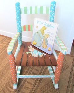 Child Rocking Chair - Painted Furniture - Baby Shower Gift - Bunny Rabbit on Etsy, $150.00