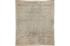 Declaration of Independence sells for $597,500 in Dallas    The recently discovered printing of the US Declaration of Independence beat its estimate by an impressive 70%