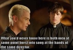What you'd never know here is both men at some point burst into song at the hands of the same director. [Spike, Captain Malcolm 'Mal' Reynolds, James Marsters, Nathan Fillion, Buffy the Vampire Slayer, Firefly, Joss Whedon]