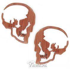 Tawapa: Pair of Sabo Wood Skull Silhouettes - Body Jewelry