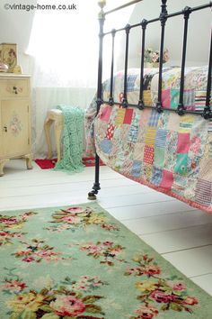 Pretty Vintage Rosy Rug and Patchwork Quilt: www.vintage-home.co.uk