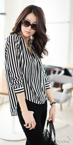 #PorEncargo: Blusa abierta manga larga estampado rayas verticales