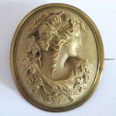 Antique-Victorian-2-034-Large-High-Relief-Bacchante-Carved-Lava-Cameo-Brooch-Pin