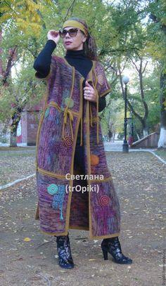"""Купить """"Палитра"""" вязаное пальто-жилет двустороннее авторское - разноцветный, пальто, женская одежда"""