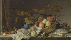 Балтазар ван дер Аст. Сливы и персики на ткани, фрукты в корзине и перевернутая тарелка
