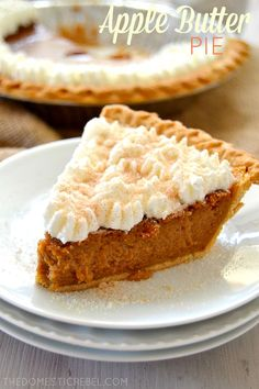 This Apple Butter Pie is a delicious fall-inspired treat that's perfectly spiced and bursting with apple flavor! A great, easy alternative to pumpkin pie too! ~ The Domestic Rebel Apple Desserts, Apple Recipes, Just Desserts, Baking Recipes, Pumpkin Cookies, Pumpkin Bread, Pie Dessert, Dessert Recipes, Cheesecakes