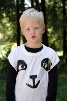 panda costume - easy to make with a t-shirt & duct tape