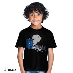 DeLorean Crashes Into the Tardis Back to the Future Doctor Who Children's T-shirt Doctor Who Shirts, Tardis Dr Who, Movie T Shirts, Back To The Future, New Parents, Mens Tops, How To Wear, Baby, Women