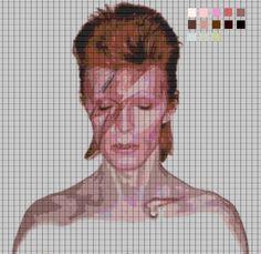 David Bowie Aladdin Sane Cross Stitch Pattern.