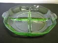 Relish Tray or Dish Vintage Depression by hazeleyesartglassetc