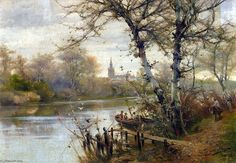 'a rivière paysage avec `seville` au delà' de Manuel Garcia Y Rodriguez (1863-1925, Spain)