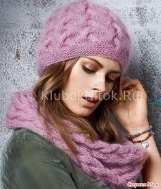 Вяжем спицами шапку с косами. Она тёплая, связанная двойной ниткой. Пряжа использовалась Silkhair Lana Grossa (70% суперкид мохер, 30% шелк).  Размер: 54-56 (это и есть окружность головы).