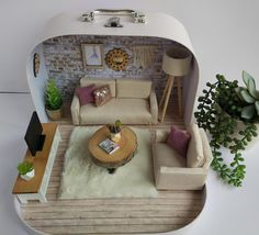 "Items similar to Travel Dollhouse MadebyMinidom "" Living Room"" on Etsy Modern Dollhouse, Diy Dollhouse, Dollhouse Miniatures, Miniature Rooms, Miniature Crafts, Miniature Tutorials, Mini Mundo, Diy Barbie Furniture, Doll House Plans"