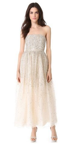 like the idea, but either to the floor or above the knees || Alice + Olivia Milly strapless ball gown $1298 at Shopbop
