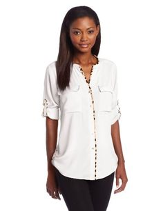 Calvin Klein Women%27s Collared Top With Leopard Piping