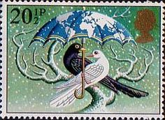 Christmas 20.5p Stamp (1983) 'World at Peace' (Dove and Blackbird)