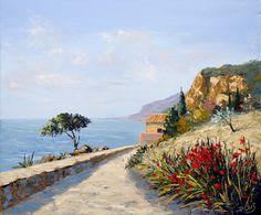Dessin et peinture - vidéo 2058 : La corniche varoise suspendue au dessus de la mer méditerranée à la peinture à l'huile et au couteau 1/3.