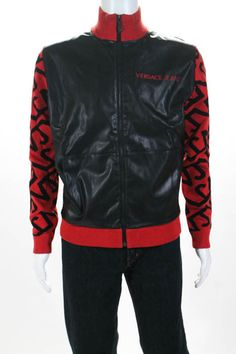dd6b09be 219.42 | Versace Jeans Men's Jacket Size Medium Black Leather Red Wool  Bomber New $716