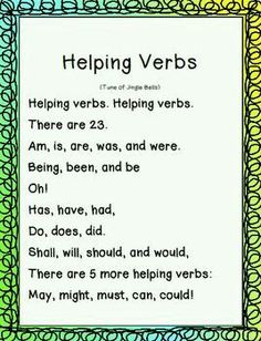 Helping Verbs Sign I had a teacher who repeated this so many times, I can still say them by heart! Grammar And Punctuation, Teaching Grammar, Teaching Language Arts, Grammar Lessons, English Language Arts, Teaching Writing, Writing Skills, Teaching English, Grammar Games