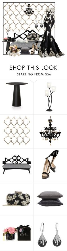 """""""Untitled #38"""" by kjkrios ❤ liked on Polyvore featuring Moooi, Kathy Ireland, Brian Atwood, Oscar de la Renta, Jayson Home and Côte Noire"""