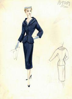 Dior Fashion Sketches Illustrations or Custom Stationary. Vintage Dior, Vintage Couture, Mode Vintage, Vintage Hats, Dior Fashion, Suit Fashion, 1950s Fashion, Vintage Fashion Sketches, Fashion Illustration Vintage